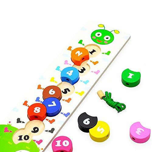 Newin Star Juego Número de Colores de Madera de Bolas de Juguete de Bricolaje Cuentas Cordón de Caterpillar Juego para los niños en Edad Preescolar Montessori-Niños