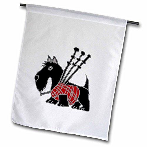 3drose Funny Scottish Terrier spielt die Dudelsack–Garten Flagge, 12durch 45,7cm