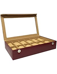 Essart PU Leather Watch Organiser Box for 12 Watches-Maroon
