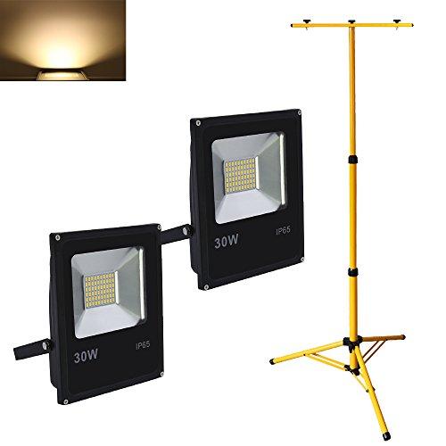 VINGO® 2X 30W LED Fluter Baustrahler Warmweiß mit Teleskop Stativ Außen Strahler Arbeitsscheinwerfer Baulicht Flutlicht