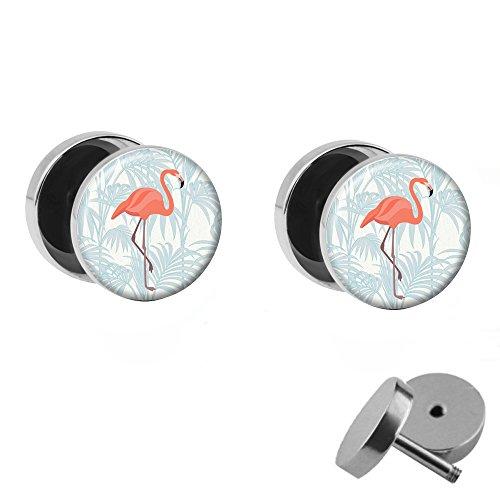 Treuheld | Set - Rosa Flamingo mit Palme - 2 Ohrstecker Zum Schrauben mit pinkem Vogel - Weisse Fake Plugs - Ø 10mm - Ohrringe Fakeplug Weiß Pink - Silber Ohrring - Chirurgenstahl Faketunnel