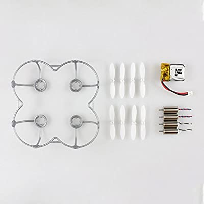 CX-10C- 01 Accessory Kits Propellers Rotor with Blade Guard Cover Bumper Motor Battery Set for Cheerson CX-10C/CX-10W/CX-10WD/CX-10D/CX-10WD-TX, Eachine E10C / E10W Mini Quadcopter Micro Drone