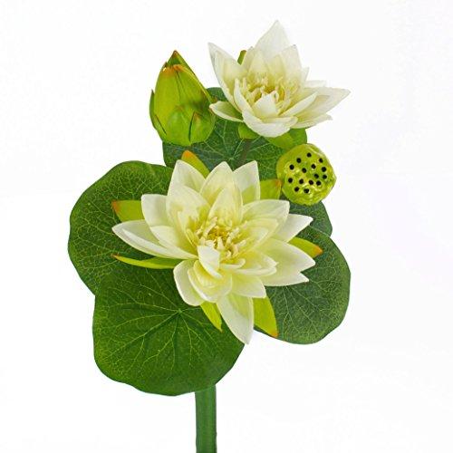 artplants - Künstliche Seerosenpflanze SABIHA, 2 weiße Blüten, Knospe, Fruchtstand, grüne Blätter, 40 cm - Kunst Wasserpflanze / Lotuspflanze