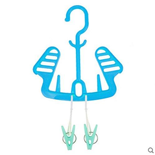 XIAOYANNIU Kreative Multifunktions-Balkon Indoor-Schuhschrank Socken Rahmen Klappbarer Wäscheständer Handtuchhalter,Blue
