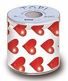 Servdeko Toilettenpapier rote Herzen Geschenkidee 3-lagig in Geschenkverpackung Scherzartikel