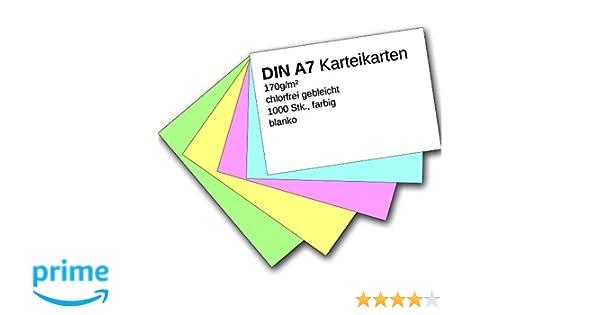 kariert 500 Karteikarten DIN A7 farbig