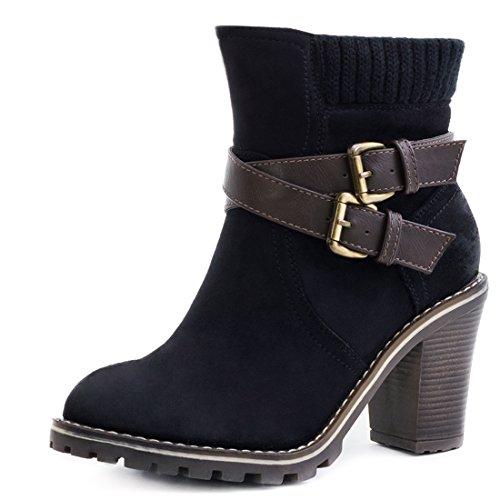 Stivaletti Da Donna Stivaletti Chelsea Boots Con Tacco Largo Nero
