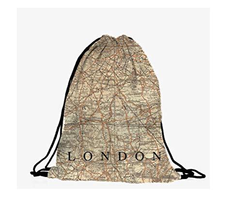 Hanessa Jutebeutel -London-Map Landkarte Natur-Beige - mit lustigem Spruch Aufdruck Sportbeutel lustige Sprüche Rucksack Beutel Tasche Gym Bag Hipster Fashion Sport-Tasche Einkaufs-Tasche RU-274