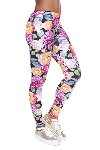 Bunte Damen Leggings Hose Einheitsgröße S-L   Mädchen Leggins bedruckt in verschiedenen Muster   Yoga Pants High Waist auch als Sporthose für Workout (Orange Pink Roses)