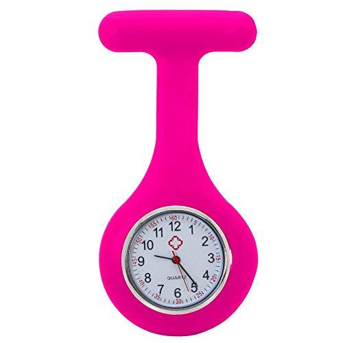 tumundo Schwestern-Uhr Puls Anstecknadel Kittel Brosche Silikon-Hülle Quarz Damen-Schmuck Krankenschwester Pfleger-Uhr, Farbe:pink -