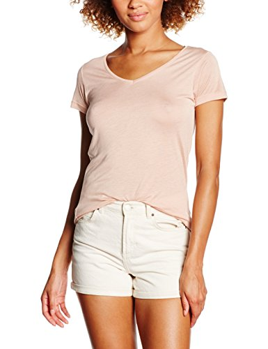 Rosa V-neck Tee (PIECES Damen T-Shirt Pcbella V-Neck Tee, Rosa (Misty Rose), 36 (Herstellergröße: S))