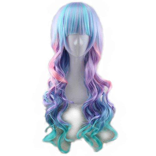 Xuanhemen Bunte Farbverlauf Synthetische Haar Cosplay Volle Perücke Wellig Lockiges Haar (Synthetische Lockige Haar)