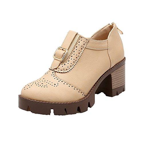 AllhqFashion Femme Zip Pu Cuir Rond à Talon Correct Couleur Unie Chaussures Légeres Beige
