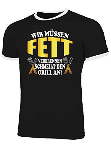 Wir Müssen Fett Verbrennen schmeißt Den Grill An 4887 Herren Ringer T-Shirt (HR=Schwarz/Weiss) Gr. XL