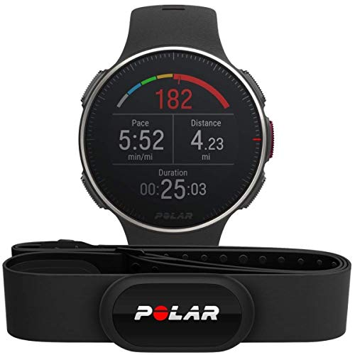 POLAR Unisex- Erwachsene Vantage V Titan HR Multisport Uhr, Schwarz/Rot, One Size