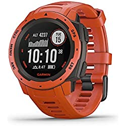 Garmin Instinct Outdoor Multi-Sport GPS Heart Rate Monitor Bluetooth Water Resistant Smart Watch Flame Red