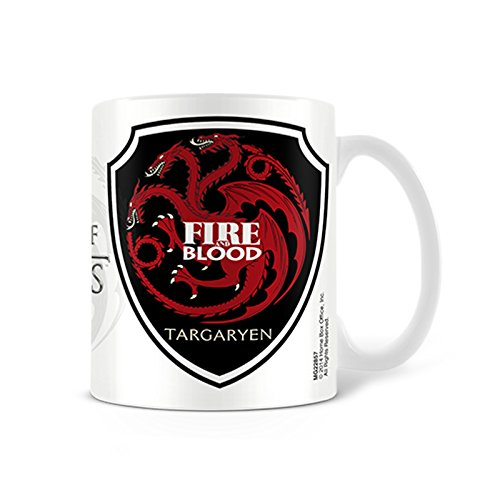 Tazza Game of Thrones Targaryen Stemma Dragon Fire & Blood con logo della serie su HBO - Ceramica - Bianco