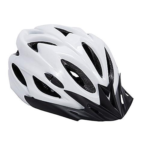 Babimax Airflow Bike Helmet with Detachable Visor - Padded & Adjustable - For Adult Men & Women (White)