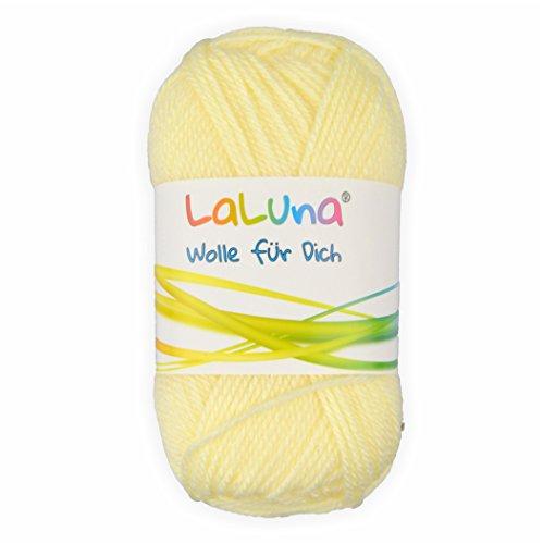 Uni Wolle hellgelb 100% Polyacryl Wolle 50g - 135m, Garn zum Stricken & Häkeln, Marke: LaLuna® -