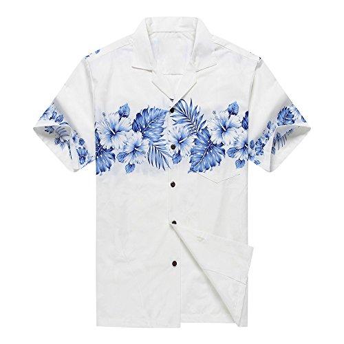 Made-en-Hawaii-Camisa-de-la-hawaiana-de-los-hombres-XL-Palmaa-con-hibisco-cruzado-en-Blanco-and-Azul