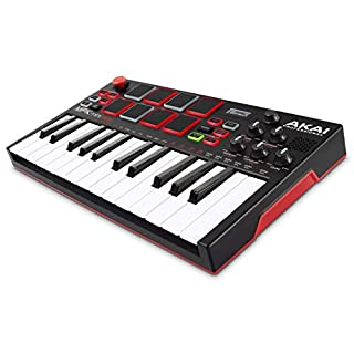 Akai Professional MPK Mini Play – Standalone Mini Keyboard & USB/MIDI Controller With Built-In Speaker, MPC-Style Pads, On-board Effects, 128 Instrument- & 10 Drum-Sounds, and Software Suite Included