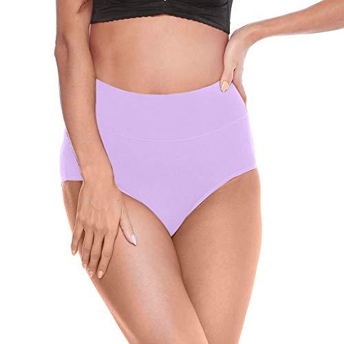 Timitai Damen-Slips Einfarbige Slips aus weicher Baumwolle mit hoher Taille und Nähten -