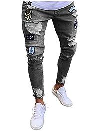 8ce75e5c4d Lannister Fashion Pantalones Vaqueros Destruidos Flacos De Los Vaqueros  Pantalones Skinny Hombres Ajustados De Slim Fit