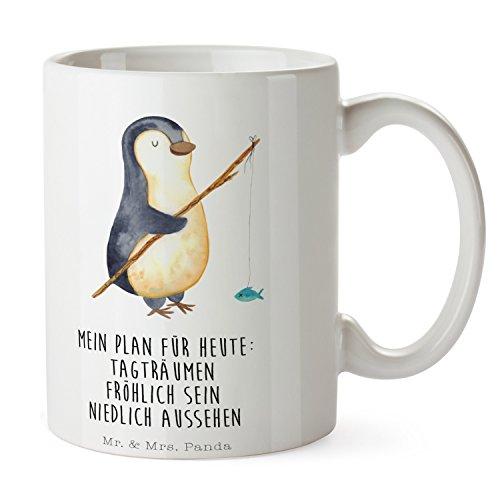 Mr. & Mrs. Panda Becher, Tee, Tasse Pinguin Angeler mit Spruch - Farbe Weiß