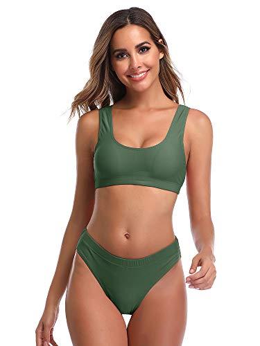 Summer Mae Damen Bikini Set Bustier Oberteil Zweiteile Sportliche Bademode Grün L