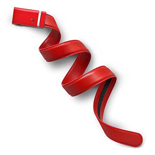 Missione cintura da uomo in pelle Cintura a cricchetto, 35mm, collezione Red Buckle & Red Leather XXL