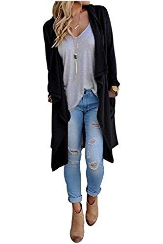 SWISSWELL Damen Strickjacke Cardigan Pullover Blazer Jacke Mantel Tops Casual Outwear Irregulär Cardigan Asymmetrisch Langarm Loose mit Taschen Schwarz 2XL
