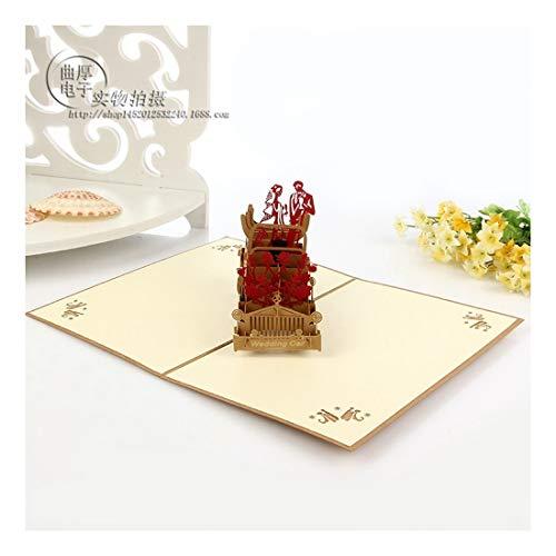 ZHOUBIN 2 fogli/set Carving And Hollowing Out 3D Cards/Greeting Cards/Regali di Natale Capodanno/Auguri di compleanno/Auto matrimonio romantico