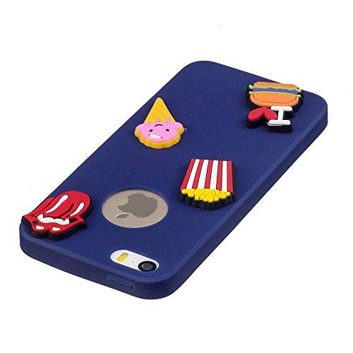 Coque iPhone 5S SE Mignon 3D Cartoon Motif, Etui Apple iPhone 5 5S SE Housse de Protection TPU Souple Silicone Bumper Case Ultra Mince Premium Cover Anti-Rayures Anti Choc - Bleu clair Cactus Bleu foncé