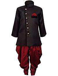 jbn creation Boy's Cotton Silk Sherwani Suit