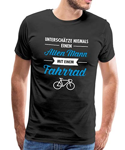 Spreadshirt Alter Mann Mit Fahrrad Lustiger Spruch Männer Premium T-Shirt, 3XL, Schwarz - Radfahren Lustige T-shirt
