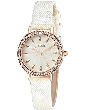 Inwet Strass Quarz Armbanduhr für Damen,Weiß Zifferblatt Analoge Anzeigen und Leder Armband,Elegant Kleid