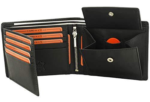 Fa.Volmer ® Schwarze Herren Geldbörse echt Leder Querformat mit RFID Schutz #SQ70
