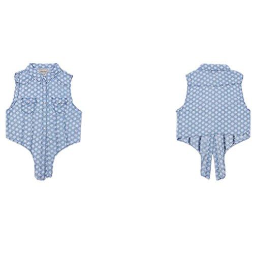 SHISHANG Chemise en denim pour dames Chemise en jean sans manches Slim short paragraph fashion denim summer blue A