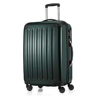 HAUPTSTADTKOFFER - Alex -  4 Doppel-Rollen Hartschalen-Koffer Koffer Trolley Rollkoffer Reisekoffer, TSA, 65 cm, 74 Liter, Waldgrün
