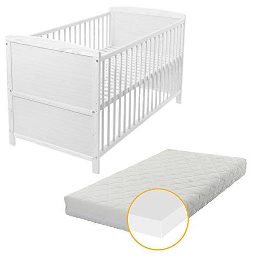 Babyblume Tina Baby- Kinder- und Jugend- Bett, Gitterbett, Kiefer teilmassiv, 140x70 weiß inkl. Matratze PLUS