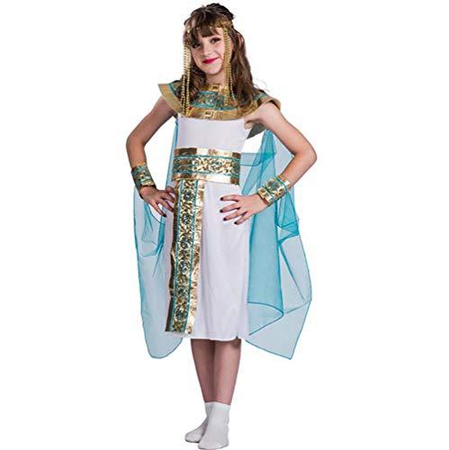SHANGLY Halloween Kostüm Mädchen Ägyptische Königin Cosplay Kostüme Kinder-Abendkleid Für Karnevalsparty,L (Ideen Kostüme ägyptische)