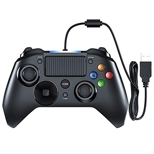 Mpow Gaming Controller, PS4 Game Controller, USB Gamepad mit Turbo und Trigger Tasten, Headset Jack, LED Licht für PS4, PS4 Pro/Slim, PS3, Win7/8/10/XP, Android TV/Handy/Tablet (Pro-gaming-controller Ps3)