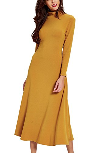 Frauen eleganten Stehkragen Swing Party Maxi-Kleid Yellow