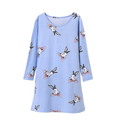 Mädchen Kinder Nachthemd Nachtwäsche Schlafanzug Winterkleider Bedrucktes Nachthemd Blau 5-6 Jahre