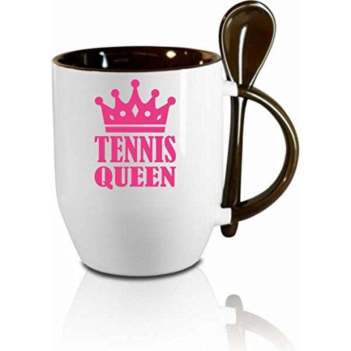 """Tasse m. Löffel - """" Tennis-Queen """" - Kaffeetasse mit Motiv, bedruckte Tasse mit Sprüchen o. Bildern - auch indiv. Gestaltung"""