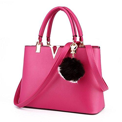 Baymate Ms. Beutel V-portable Mode-Hand einfache Schulter Elegant Handtasche Schultertasche Rose