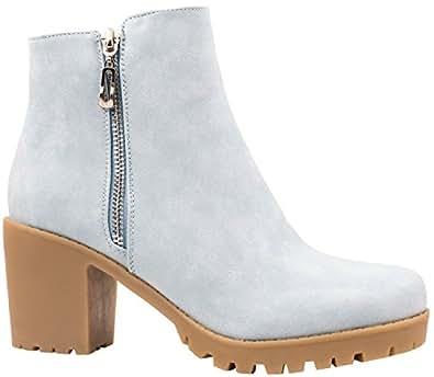 Elara Ankle Boots | Trendig Bequeme Damen Stiefeletten | Plateau Blockabsatz Blau 36