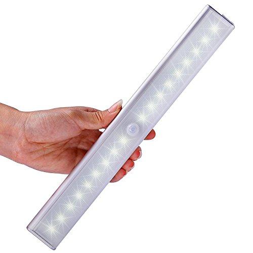[Versión Mejorada] Lámpara con sensor de movimientos, Kingland 18 LED, lámpara recargable y inalámbrica , que puede pegar en la pared , activarse por movimientos y encender o apagar instantemente, 3 modos de luz (Auto ON y OFF), Aluminio de lujo, Cocina, Debajo del gabinete, Armario, Alacena, Guardarropa, Escaleras, Cajón, Pasillo, Paso, Garaje, Cobertizo, Pared del baño, Luz de emergencia para campamento, Lámpara de LED para noche