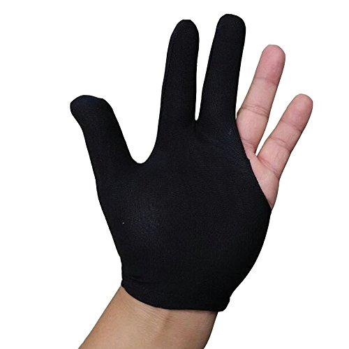 nacpy Sport Billard Pool Queue Drei-Finger-Elastic Handschuhe Shooters Billard Handschuh Snooker Queue Handschuhe 3Paar Schwarz