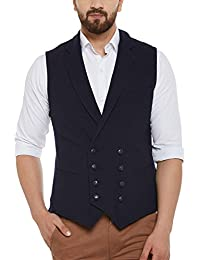 Hypernation Navy Blue Color Cotton Double Breast Waistcoat For Men